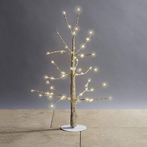 LampLust Lighted Gold Tree Centerpiece - Pre-Lit Mini Glitter Twig Tree with 60 White LED Lights, 18 Inch, Plugin, Indoor Wedding Table Decor