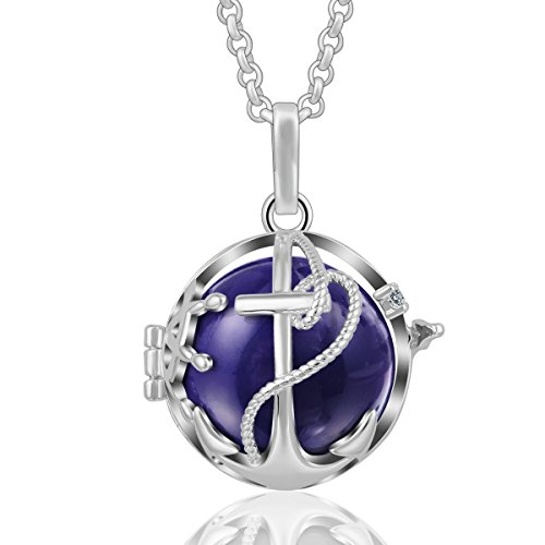 - AEONSLOVE Crystal Anchor Pendant Necklace Silver Harmony Bola Chime Bell Navy