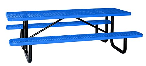 8' Rectangular Picnic Table, Expanded Metal, Blue (96