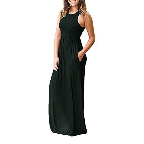 Boho Long Maxi Dress Sexy Sleeveless Tank Dresses Summer Casual Pocket Beach Sundress,Dark Green,M]()