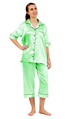 - Up2date Fashion Short Sleeve PJ with Cropped Pants, 5 Colors, Style#PJ-10 (Medium, Pistachio)