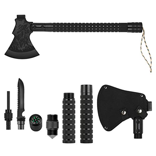 BTY Camping Axe Multitool, Survival Axe Hatchets Folding Tactical Axe with Hammer & Sheath for Outdoor Adventures Hiking