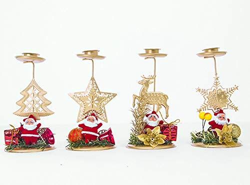 Fashionclubs 4pcs Christmas Candle Holder Tealight Holders Vintage Reindeer Santa Candlesticks Candlelight Holder Stands for Christmas Holiday, Christmas Tabletop Centerpieces Decoration - Candle Stand Reindeer