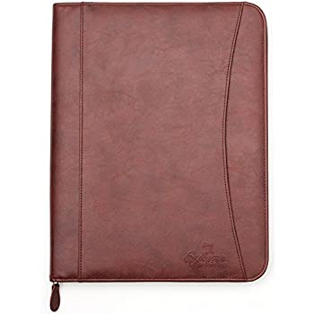 professional executive pu leather business resume portfolio padfolio organizer with ipad mini or tablet sleeve holder zipper paper pad card holders