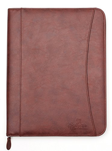 (Professional Executive PU Leather Business Resume Portfolio Padfolio Organizer with iPad Mini or Tablet Sleeve Holder, Zipper, Paper Pad, Card Holders, Pen Holder, Document Folder - Brown)