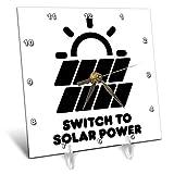 3dRose Carsten Reisinger - Illustrations - Switch to Solar Power Electric Power from The Sun Alternative Energy - 6x6 Desk Clock (dc_294721_1)