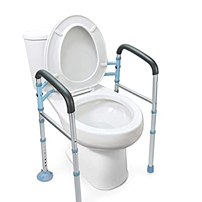 OasisSpace Stand Alone Toilet Safety Rail - Heavy Duty Medical Toilet Safety Frame for Elderly, Handicap and Disabled - Adjustable Bathroom Toilet Handrails Grab Bar, Fit Any Toilet