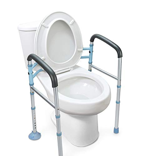(OasisSpace Stand Alone Toilet Safety Rail - Heavy Duty Medical Toilet Safety Frame for Elderly, Handicap and Disabled - Adjustable Bathroom Toilet Handrails Grab Bar, Fit Any Toilet)
