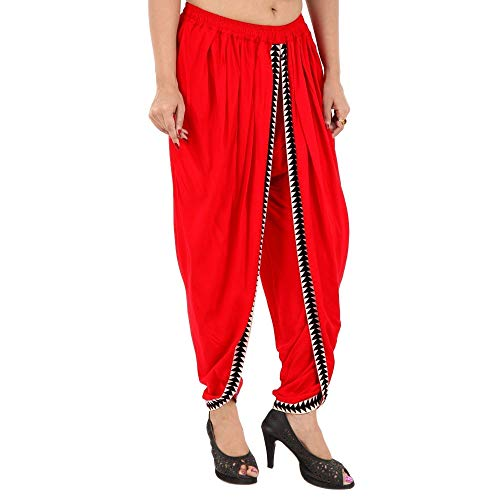 Navya Craft Red Color Rayon Dhoti Pant, Patiala Dhoti Salwar, Dhoti Trousers for Women, Girls