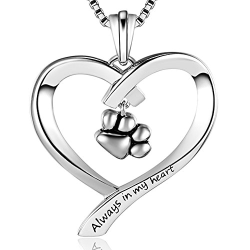 """Always in my heart"" Love Heart Puppy Paw Pendant Necklace, Platinum-Plated Fashion Jewelry, 18"