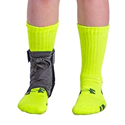 BraceAbility Pediatric Lace-Up Ankle Brace / Foot Support for Kids | Active Children in Sports can Wear under Shoes for Injury Prevention & Protection for Sprains, Sore or Weak Ankles