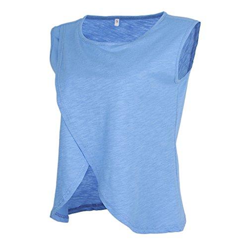 規範分配しますモロニックHomyl 授乳用 マタニティ タンクトップ Tシャツ 産後婦 母乳育児 夏 2層 無袖 通気性 肌にやさしい 全4色8サイズ  - ブルー, M