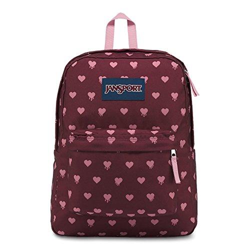 JanSport Superbreak Backpack - Russet Red Bleeding Hearts - Classic, Ultralight