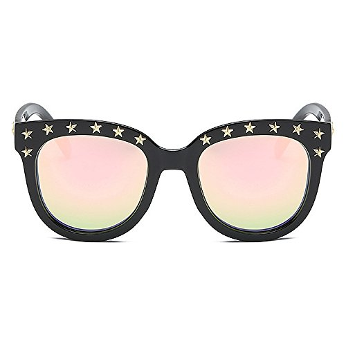 Unisexe Hommes de incassable Personnalité GWF Cadre Femmes Pink de polarisées UV pour Lunettes Star Couleur Noir Soleil Classique Soleil Lunettes Rivet Lady Lunettes Protection P8dTx8zfq