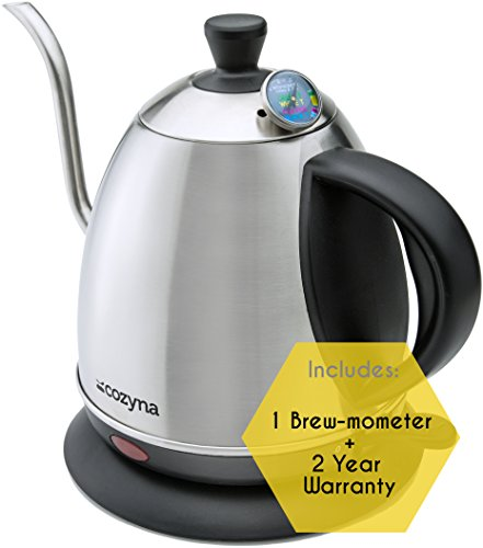 Electric Gooseneck Kettle for Drip and Pour Over Coffee and Tea By Cozyna, Stainless Steel, 1L (Electric Pour Kettle compare prices)