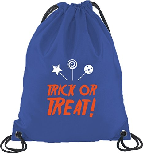 Halloween Grusel Kostüm Turnbeutel Rucksack Sport Beutel mit Halloween - Trick Or Treat Motiv Royal Blau D6YToid4