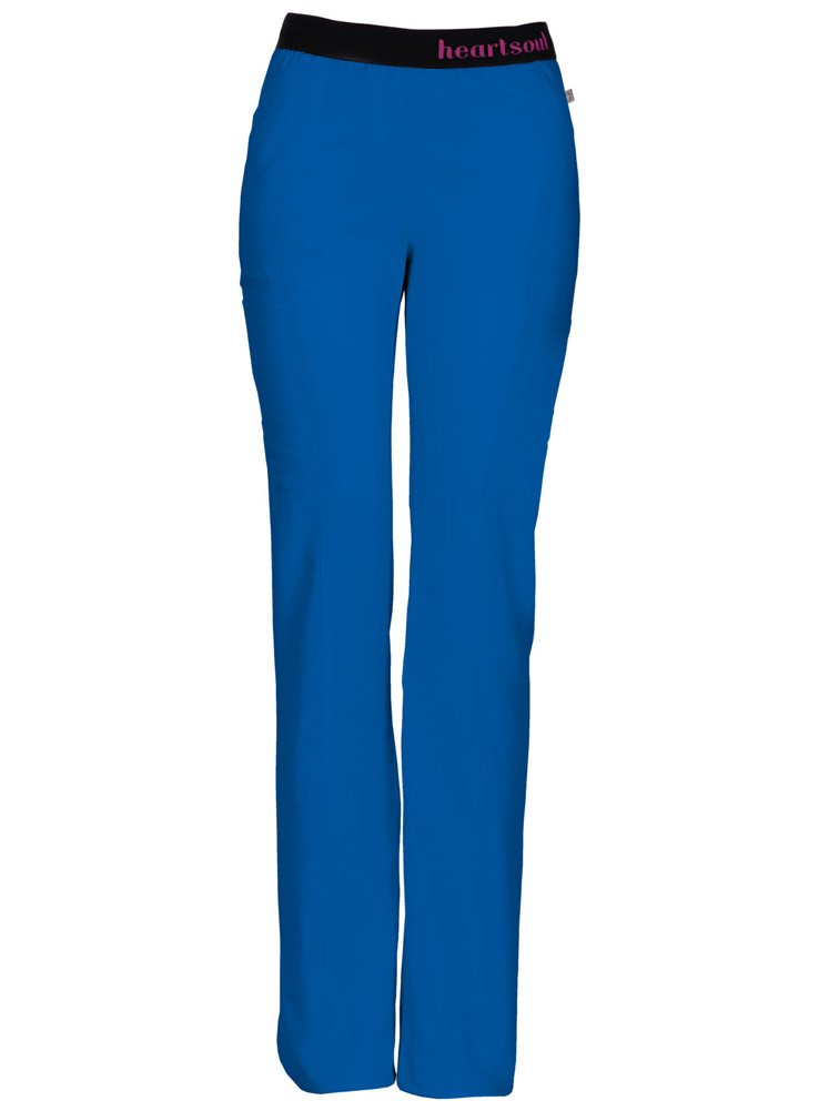 HeartSoul Scrubs Women's Head Over Heelsso in Love Low Rise Pull-on Pant, Royal, XX-Small