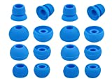 Zotech 8 Pair (16pcs) Replacement Earbud Tips for Beats Powerbeats3 Wireless Stereo Headphones - Small, Medium, Large, and Double Flange (Blue)