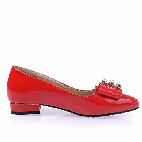 Show Glans Womens Fashion Bågar Låga Chunky Klack Skor Röd
