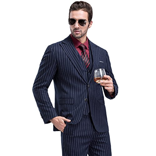 YFFUSHI Mens Modern Vertical Pinstripe/ Plaid 3-Piece Suit Slim Fit Tuxedo Dress