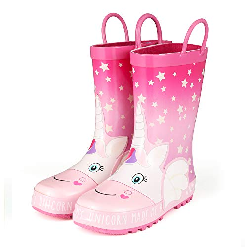 KomForme RSGD008-11M Animal Kids Rain Boots for Girls Star Unicorn,11 M US Little Kid