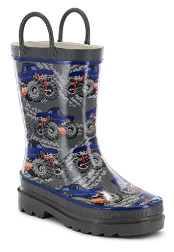 Western Chief Kids Baby Girl's Limited Edition Printed Rain Boots (Toddler/Little Kid) Monster Truck Charcoal 2 M US Little Kid ()