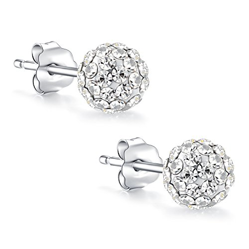 Fashion Jewelry 925 Sterling Silver Round Ball Cubic Swarovski Elements Crystal Stud Earrings