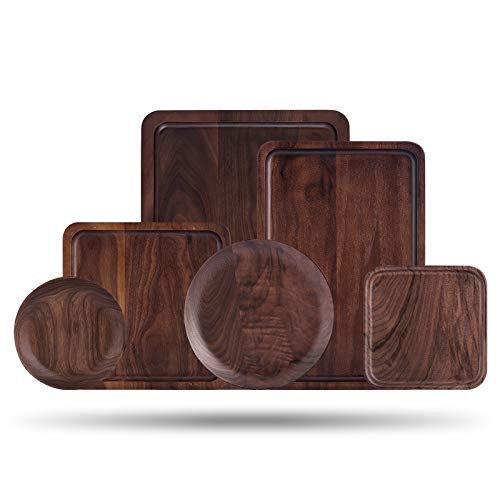 Black Walnut Tray Japanese Style Wooden Tea Tray Rectangular Plate Snack Plate Diameter 15Cm