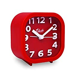 Slash 3D Digital Creative Desk Alarm Clock, Simple Candy Color for Sitting Room, Bedroom, Office, Snooze Function, Non Ticking, Nightlight Function (Red)