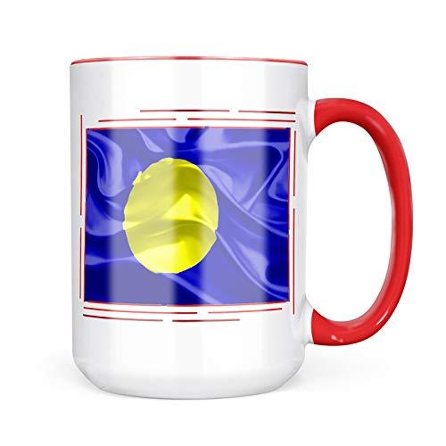 Neonblond Custom Coffee Mug Palau 3D Flag 15oz Personalized Name