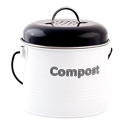 kc bins 12 cup countertop compost bin w filter indoor composter with lid handle and filter turn your kitchen scraps into natural garden