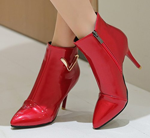 Aisun Womens Trendy Side Zipper Pointed Toe High Tops Dress Stiletto High Heels Booties Red 0XMCV