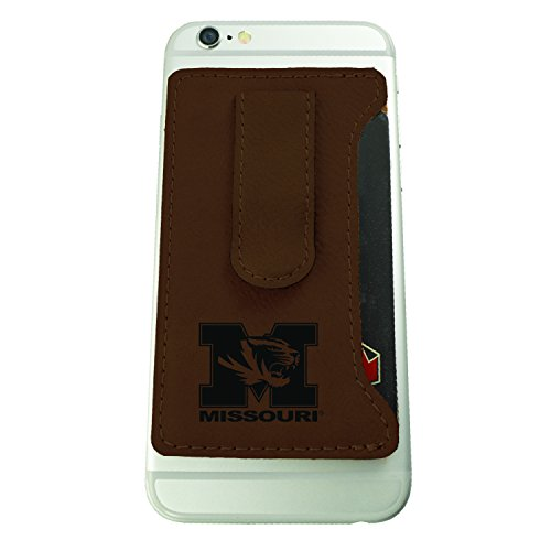 University of Missouri -Leatherette Cell Phone Card Holder-Brown Missouri Brown Leather