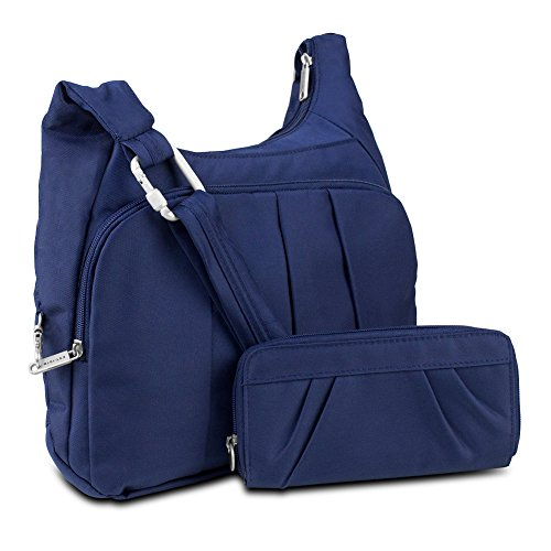 Travelon Anti-Theft Convertible Hobo with RFID Blocking Wallet, Navy
