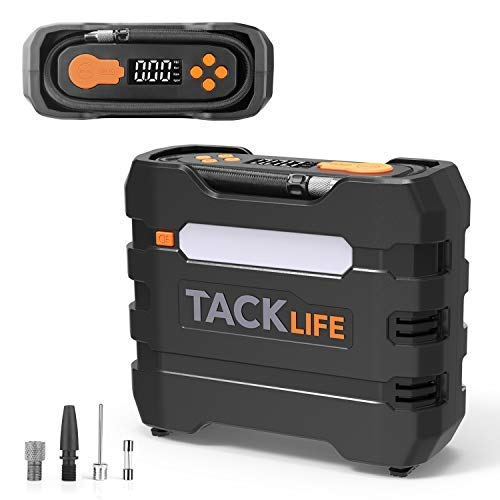 - TACKLIFE Digital Tire Inflator, Air Compressor Pump 150PSI, 12V Tire Pump with Overheat Protection, Long Cord and Tire Pressure Replenishment, LCD Display, LED Light, 3 Nozzles and Extra Fuse-ACP1B