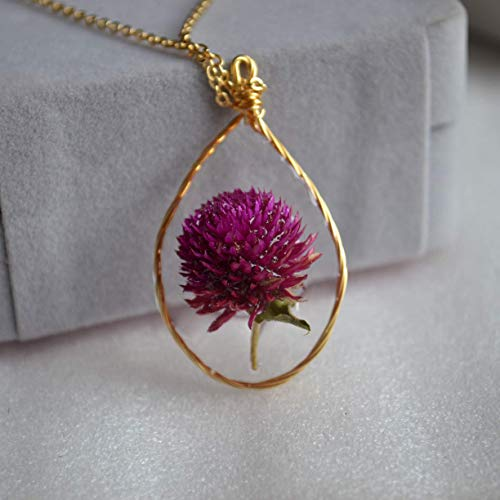 Purple Gomphrena Real Flower Waterdrop Resin Wire Wrapped Pendant 18k Gold Plated Long Necklace