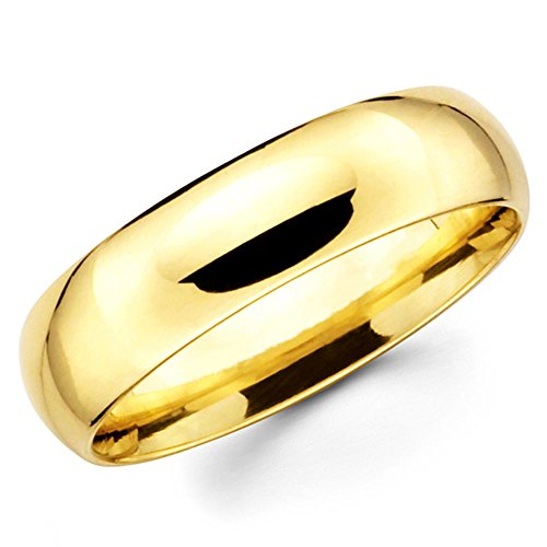 10K Solid Yellow Gold 6mm Wedding Band Ring, Size 6.5
