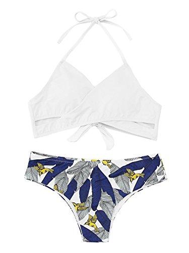 SOLYHUX Women's Floral Halter Wrap Knotted Back Bikini Set White S