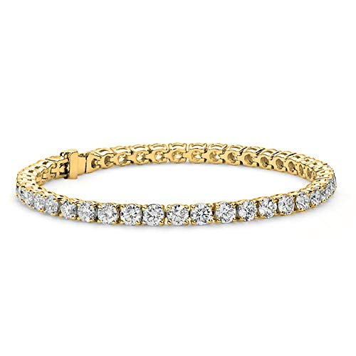 "Cate & Chloe Olivia 18k Tennis Bracelet, Womens 18k Yellow Gold Plated Tennis Bracelet w/Cubic Zirconia Crystals, 7.5"" Sparkling Stone Bracelet for Women, CZ Wrist Wrap Bracelets"