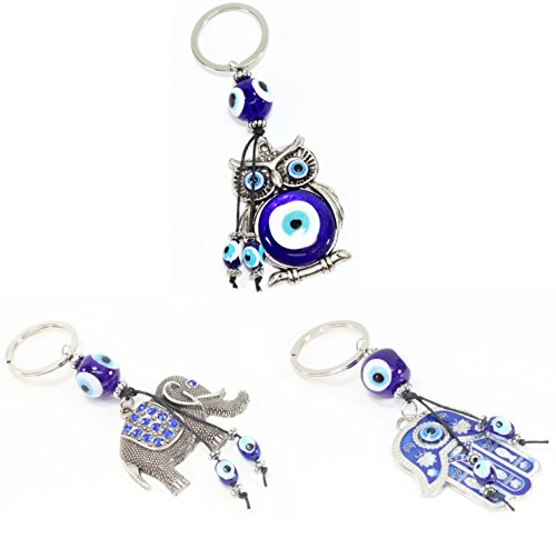 Key Hamsa - Blue Evil Eye Hamsa Hand Keychain + Owl Keychain + Elephant Keychain Good Luck Charm Blessing Protection
