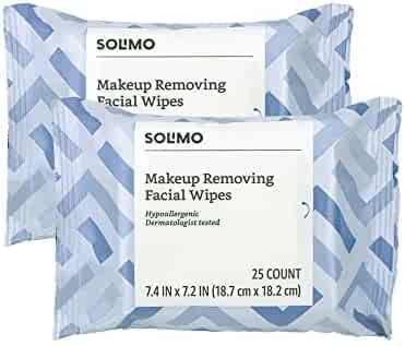 Amazon Brand - Solimo Makeup Removing Facial Wipes, 25 ct (Pack of 2)