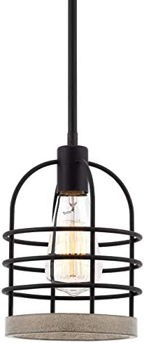 Kira Home Sawyer 11 Industrial Farmhouse Mini Pendant Light Bird Cage Shade, White Wood Style Textured Black Finish