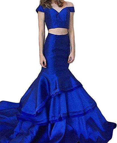 Dreagel Sirène Longue Robes De Soirée Bal Deux Pièces Robe De Mariée Formelle Pour Les Femmes Bleu Royal