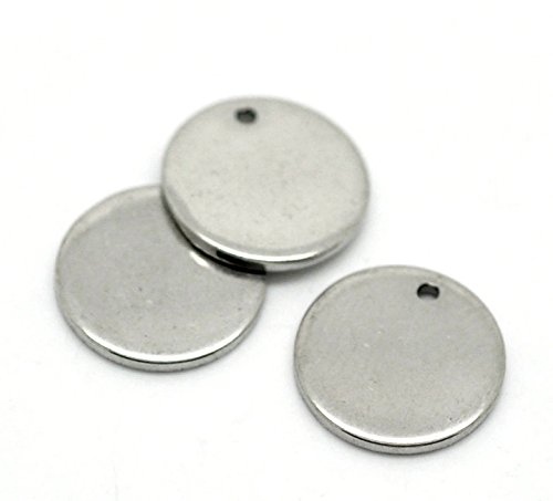 Sodacraft 10pc Platinum Antique Silver Stamping Blanks Charms- Round Thick Flat Disc- 12 Gauge, 17mm (5/8 Inch)