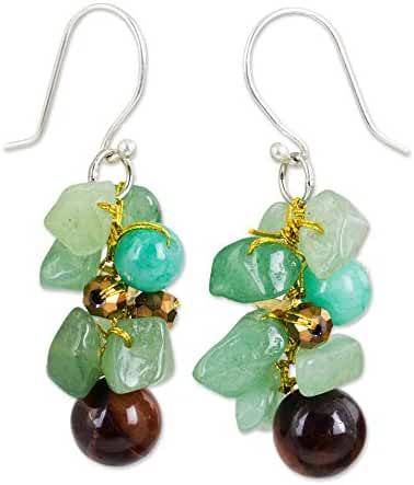 NOVICA .925 Sterling Silver Tiger's Eye and Quartz Stone Cluster Earrings, 'Chiang Mai Melody'