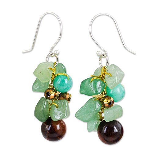 NOVICA .925 Sterling Silver Tiger's Eye and Quartz Stone Cluster Earrings, Chiang Mai -