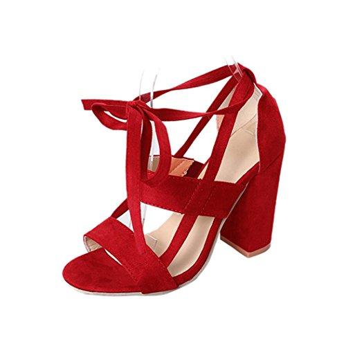 Donna Morbido Libero Sandali Interno Tempo Tacco SOMESUN Unita Tacco All'aperto Casuale Col Rosso Sandali Alto Antiscivolo Super da Tinta Col Scarpe HgnZxIUnF