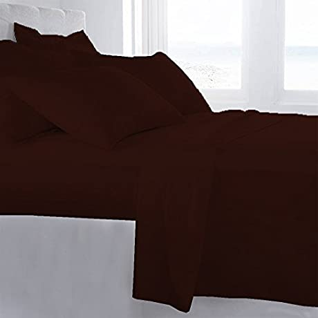 Lussona Collection 1000 Thread Count 300 GSM 100 Egyptian Cotton Quality 5 Piece Comforter Includes 1 PC Comfoter 4 PCs Sheet Set 15 Deep Pocket Full Chocolate