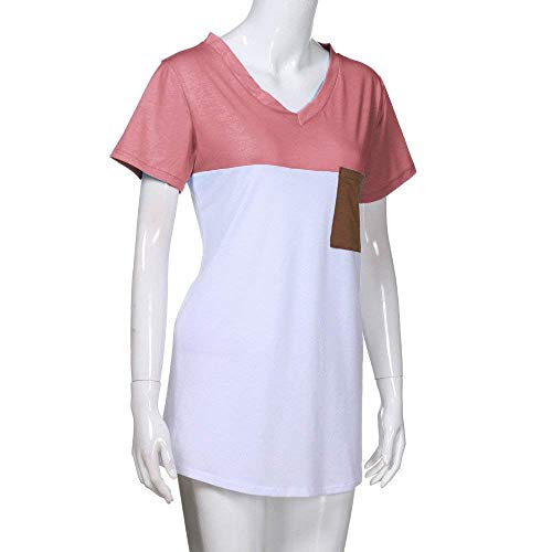 Costume Jeune Blusen Et Manches Chemise Couleurs Branch Mode Cou Mlanges T Poches Chic Haut Femme Top Avant Rose Elgante V Mode Shirts Tshirts Courtes Casual zqXRYx