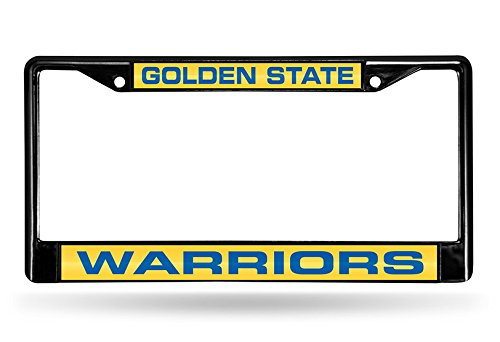 Rico Industries NBA Golden State Warriors Laser Cut Inlaid Standard Chrome License Plate Frame, 6